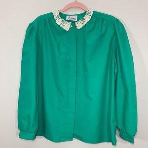 Vintage   80's Lace Trim Green Long Sleeve Blouse